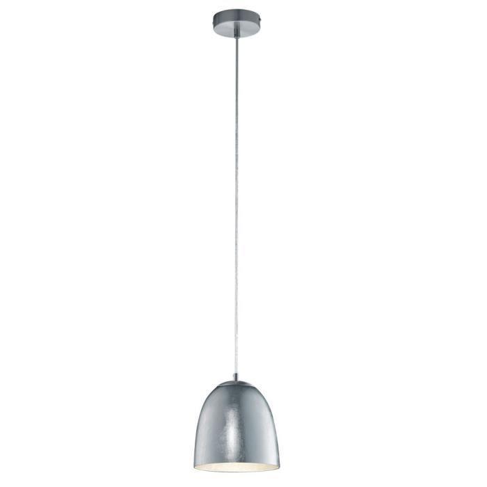 Suspension élégante verre opale lustre éclairage métal nickel mat salle à manger