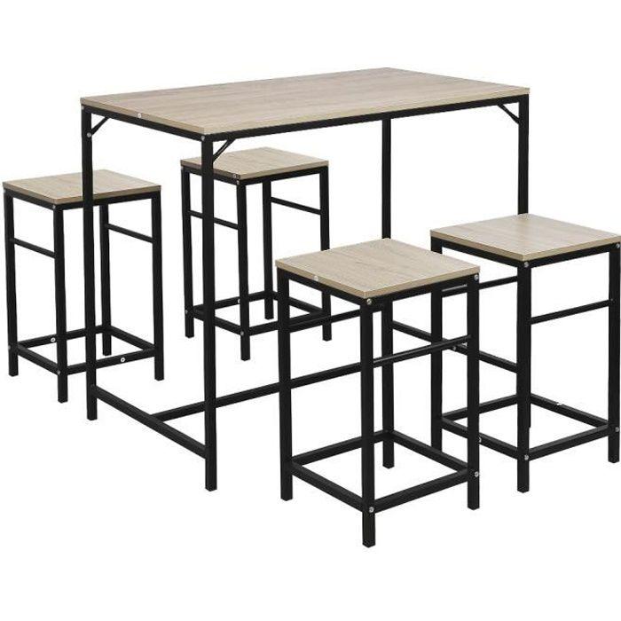 MANGE-DEBOUT Ensemble table de bar bistrot 4 tabourets avec rep