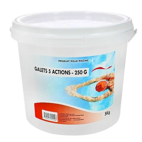 TRAITEMENT DE L'EAU  Chlore 5 actions galets 250 g - 1x5kg