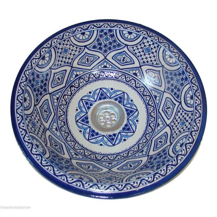 Vasque marocaine 37cm lave main céramique lavabo oriental ...