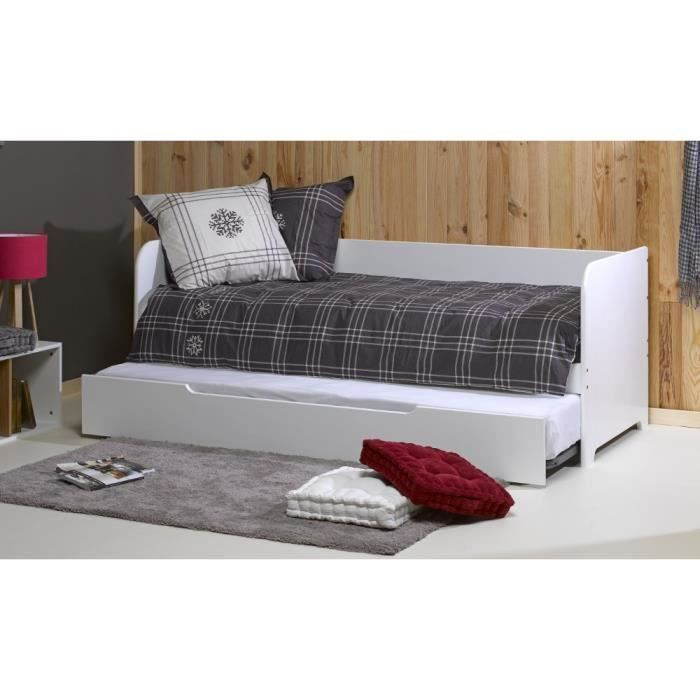 banquette gigogne 2 matelas 80x200 flocon blanc achat vente lit gigogne banquette gigogne. Black Bedroom Furniture Sets. Home Design Ideas