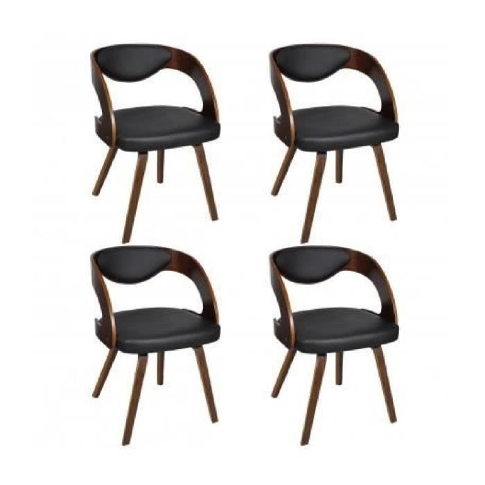 lot de 4 chaises accoudoirs salle manger ergonomique en cuir brun achat vente chaise. Black Bedroom Furniture Sets. Home Design Ideas
