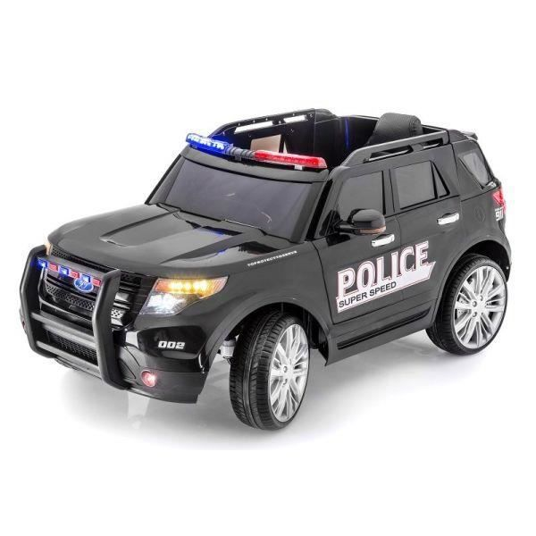 voiture lectrique 2 places 12v police noire pack luxe achat vente voiture enfant cdiscount. Black Bedroom Furniture Sets. Home Design Ideas