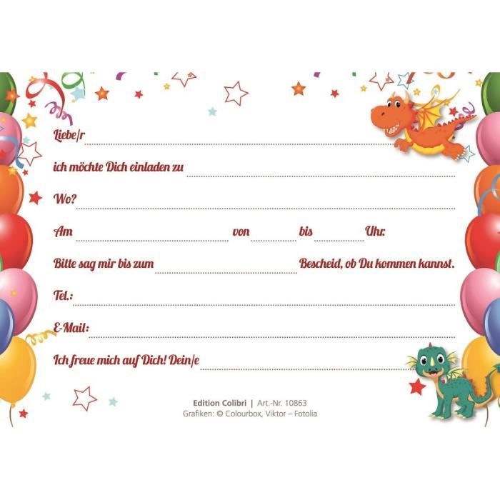 Lot de 10 cartes d'invitation pour anniversaire d'enfant de dragon humoristique (10863 ...