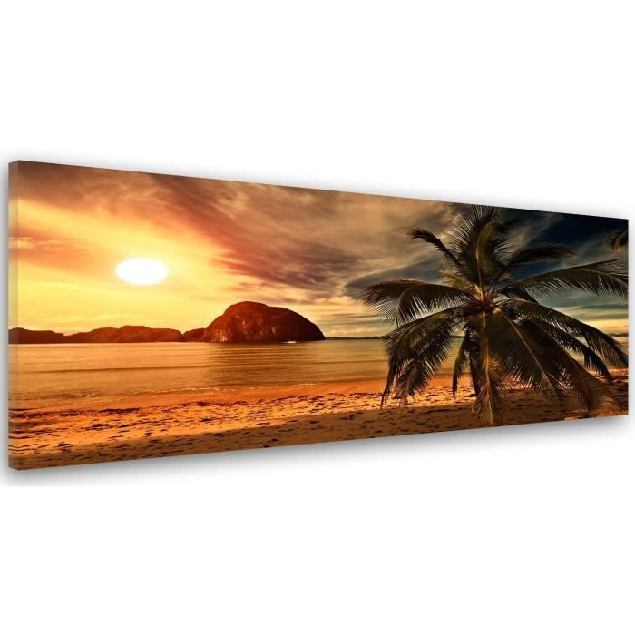 tableau d co mural impression sur toile 40x120 vue paysage coucher de soleil palmier mer orange. Black Bedroom Furniture Sets. Home Design Ideas