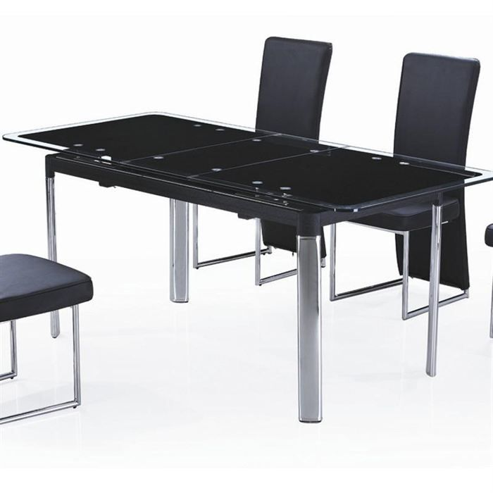 table en verre noir avec rallonge extensible achat. Black Bedroom Furniture Sets. Home Design Ideas