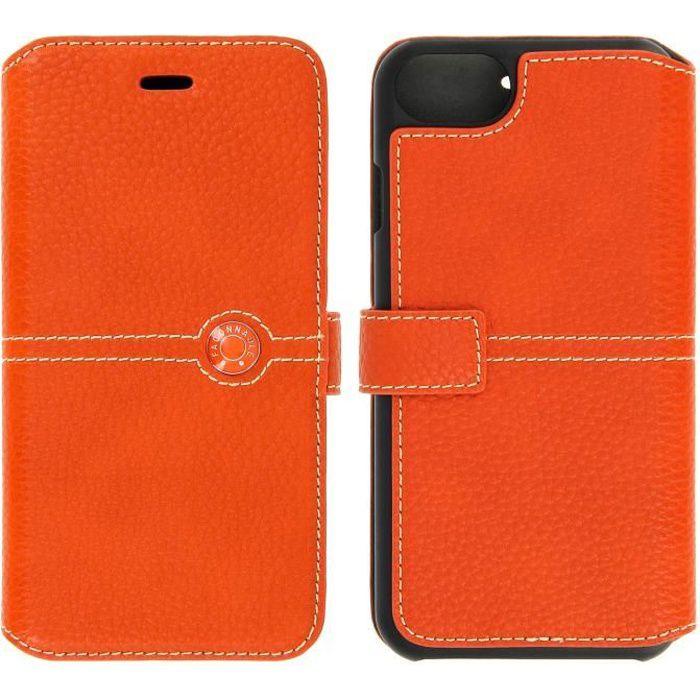 etui folio faconnable orange pour iphone 7
