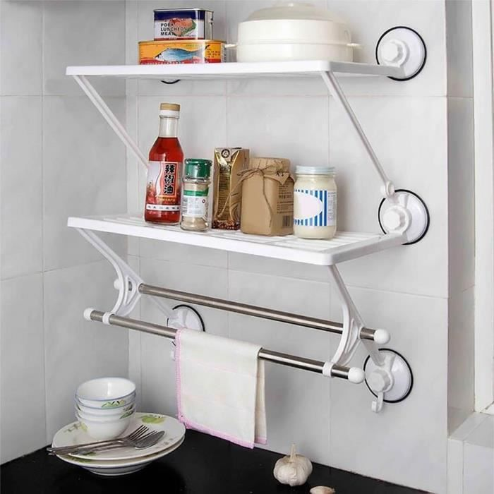 gosear etagere murale 2 etages salle de bain cusine ventouses acier inox double racks double. Black Bedroom Furniture Sets. Home Design Ideas
