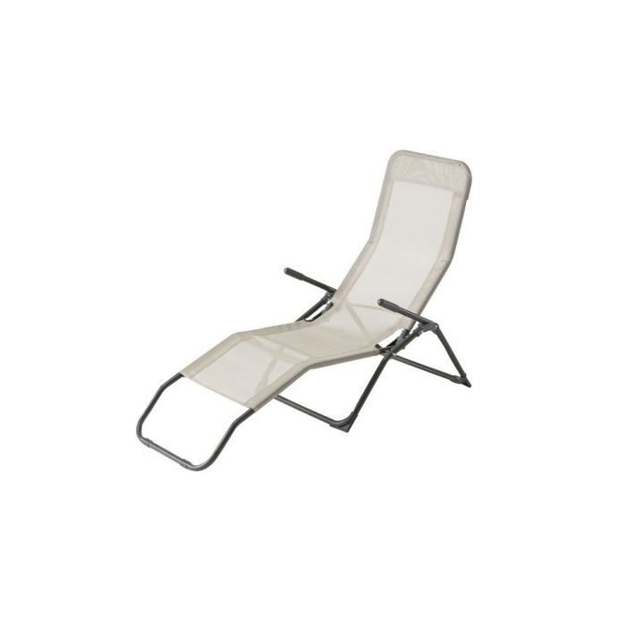 Chaise longue siesta hesperide gris achat vente chaise for Achat chaise longue