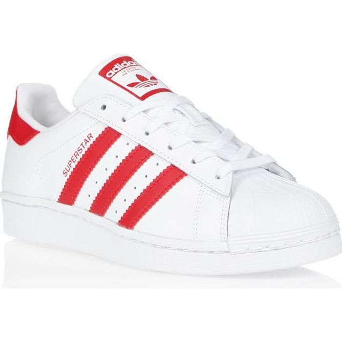 ADIDAS ORIGINALS Baskets SUPERSTAR - Femme - BLANC/ ROUGE ...