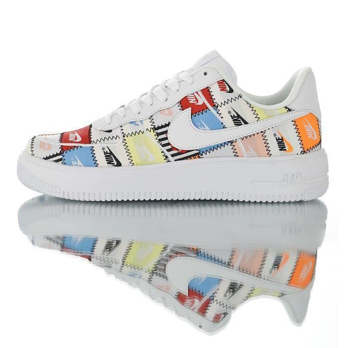 Baskets Nike Air Force 1 Flyknit Blanc Homme Femme Blanc Blanc ...