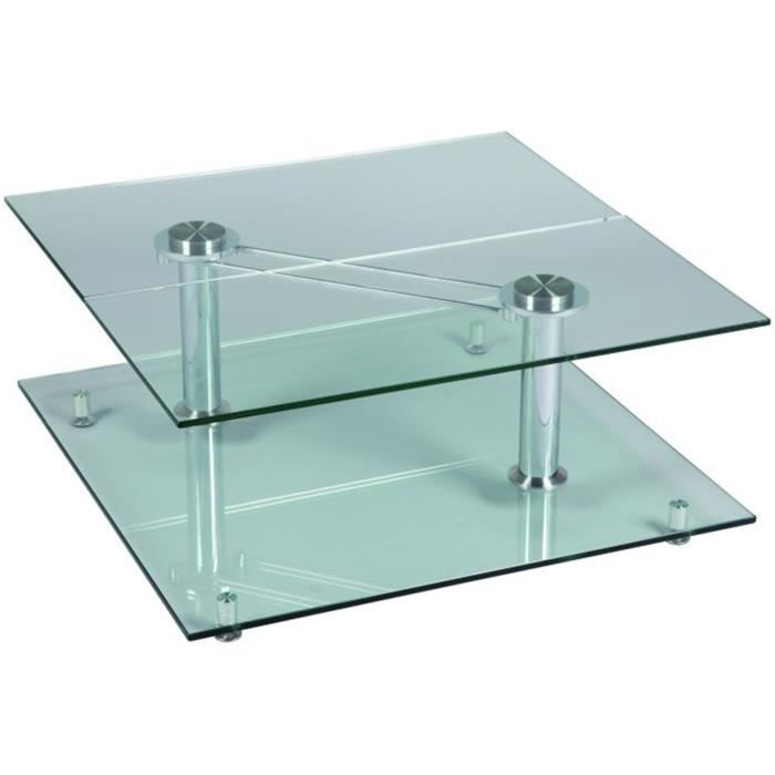Table basse en verre carr e achat vente table basse for Table basse verre carree