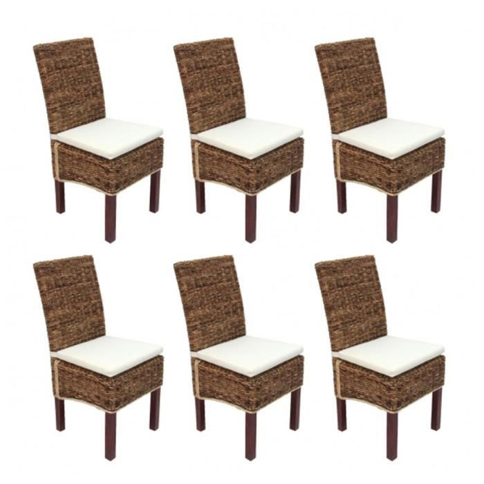 lot de 6 chaises m69 de salle manger en osier bali avec des coussins achat vente chaise. Black Bedroom Furniture Sets. Home Design Ideas