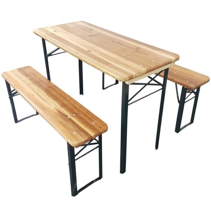 Set x3 petite table de brasserie de proheim (1 table + 2 bancs ...