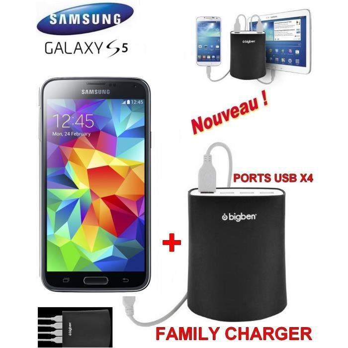 familly chargeur samsung galaxy s5 noir achat. Black Bedroom Furniture Sets. Home Design Ideas