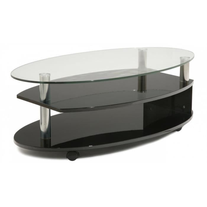 table basse verre et laqu noir ovalie achat vente. Black Bedroom Furniture Sets. Home Design Ideas