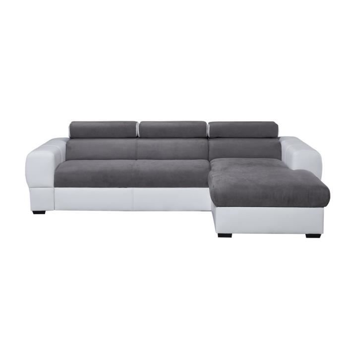 Canap d 39 angle droit convertible coffre switsofa deep blanc gris acha - Cdiscount canape angle convertible ...