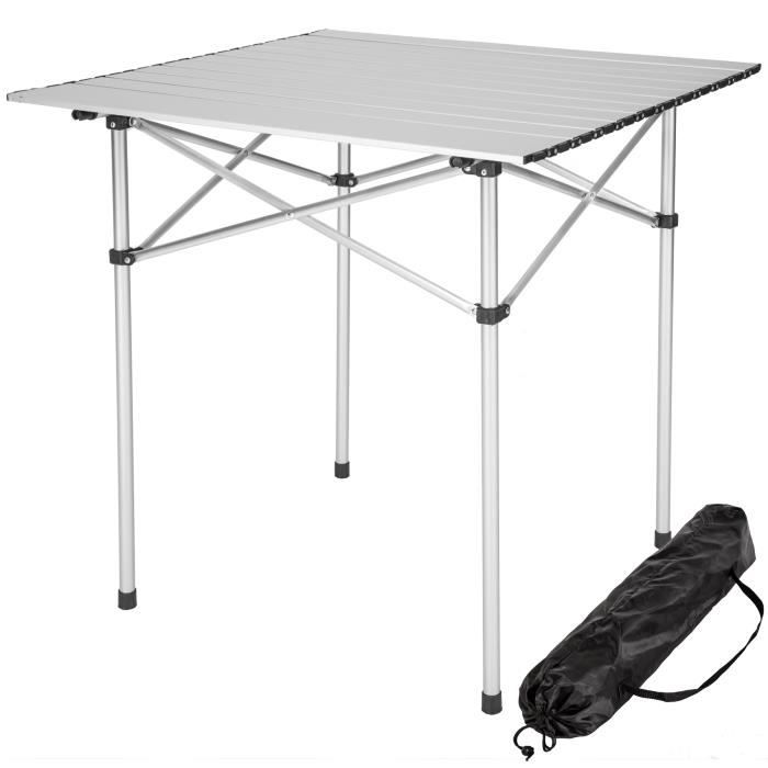 table de camping table de pique nique aluminium pliable pliante 70 cm x 70 cm x 70 cm sac de. Black Bedroom Furniture Sets. Home Design Ideas