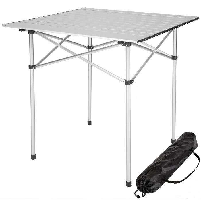 Tectake Table Pliante De Camping 70 Cm X 70 Cm X 70 Cm En Aluminium Sac De Transport