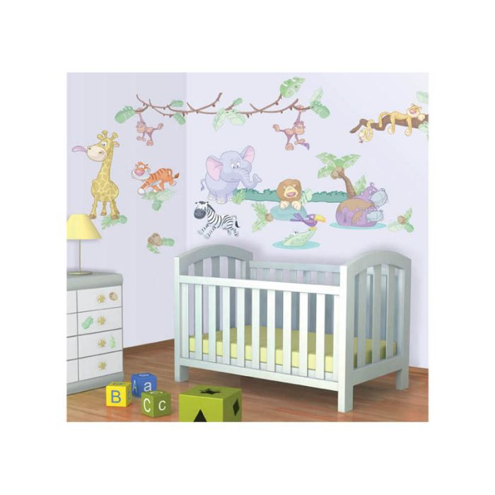 Stickers b b le monde de la jungle walltastic achat vente stickers cdiscount for Chambre jungle cdiscount