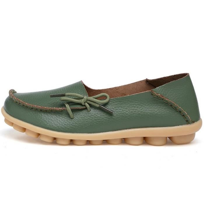 Women' S Leather Loafers Casual Moccasin Driving Outdoor Shoes Indoor Flat Slip-on Slippers D4O4J Taille-37 1-2