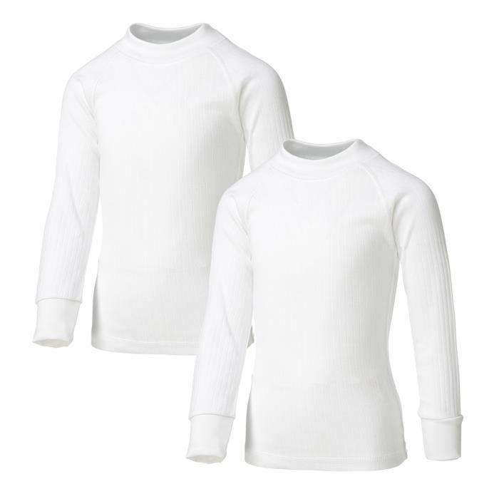 AVENTO Lot de 2 Sous-vêtements Thermiquess Manches Longues - Enfant mixte - Blanc