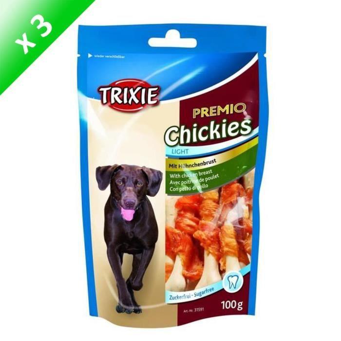 TRIXIE Lot de 3 PREMIO Chikies pour chien 100g