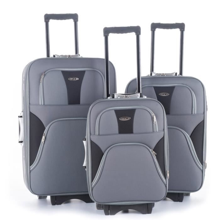 KINSTON Set de 3 Valises Trolley 4 roues 52/60/70 cm Gris