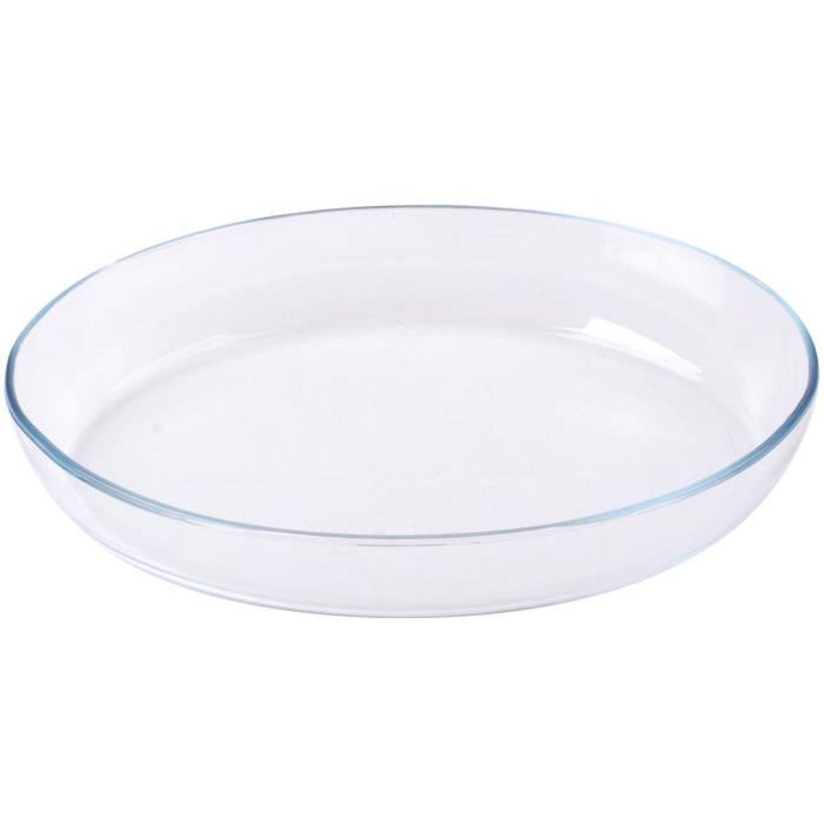 Plat En Verre Sur Plaque Induction plat a four en verre borcam extra epais design ovale 26cm blanc