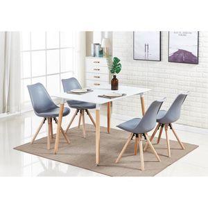 TABLE DE CUISINE  Ensemble Table à Manger Moderne Sophie Blanche + 4