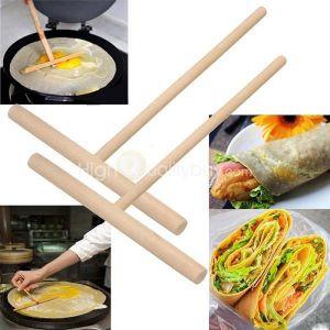 SET ACCESSOIRE CUISINE 2 Rateau à Crêpes en bois Spatule Pancake Batter S
