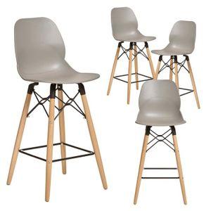 TABOURET DE BAR Chaise haute grise style scandinave CLEO 2, lot de