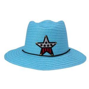 CHAPEAU - BOB Pentacle Chapeau Cowboy en Paille Large Visière Pl