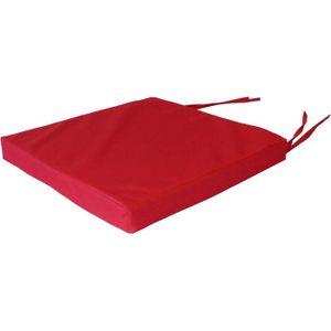 COUSSIN DE CHAISE  Galette de chaise de jardin carrée 38 cm Rouge