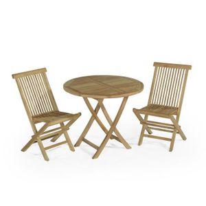Table de jardin avec chaises en teck