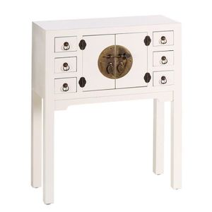 CONSOLE Console 2 portes, 6 tiroirs Blanc Meuble Chinois -