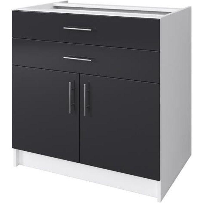 OBI Caisson bas de cuisine avec 2 portes, 2 tiroirs L 80 cm - Blanc et gris laqué brillant