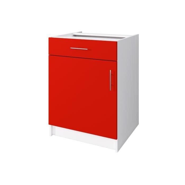 Start meuble bas de cuisine 1 porte 60 cm rouge mat for Porte cuisine 30 x 60