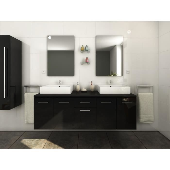 olga ensemble salle de bain double vasque l 150 cm noir. Black Bedroom Furniture Sets. Home Design Ideas