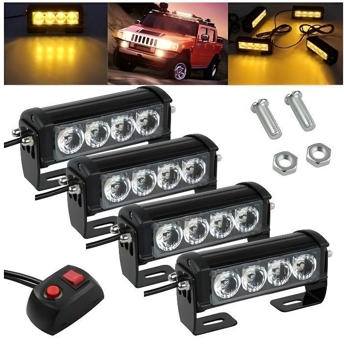 4x 4 LED Feux Stroboscopiques D'Avertissement Clignotant 12-24V Auto Camion Vtt
