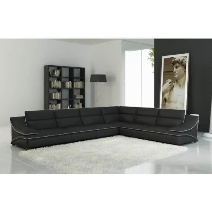 Canapé d'angle modulable en cuir noir et blanc ROXA