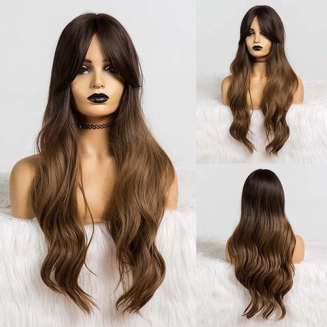 longue noir brun Gloden ondulé perruque avec faits saillants Cosplay synthétiques résistant à la chaleur moyenne perruques#6