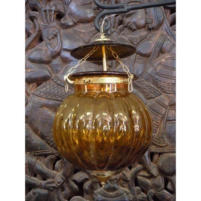 Lampe KHARBUJA verre souflé jaune 22x22 cm
