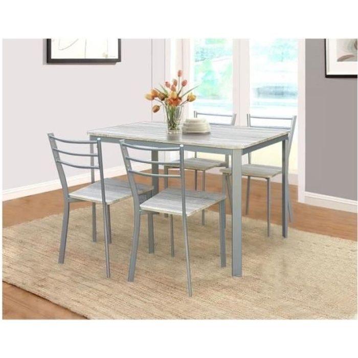 Table de cuisine et salle à manger + 4 chaises ATHENES gris et sonoma. Ensemble repas design métal et bois