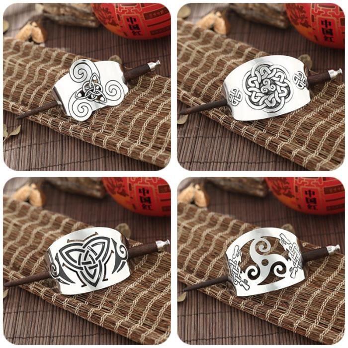 Rétro nordique Viking amulette cheveux bâton Celtics noeud Runes cheveux toboggan métal wyove Dragon - Modèle: ZP012 - MIZBFSB07094