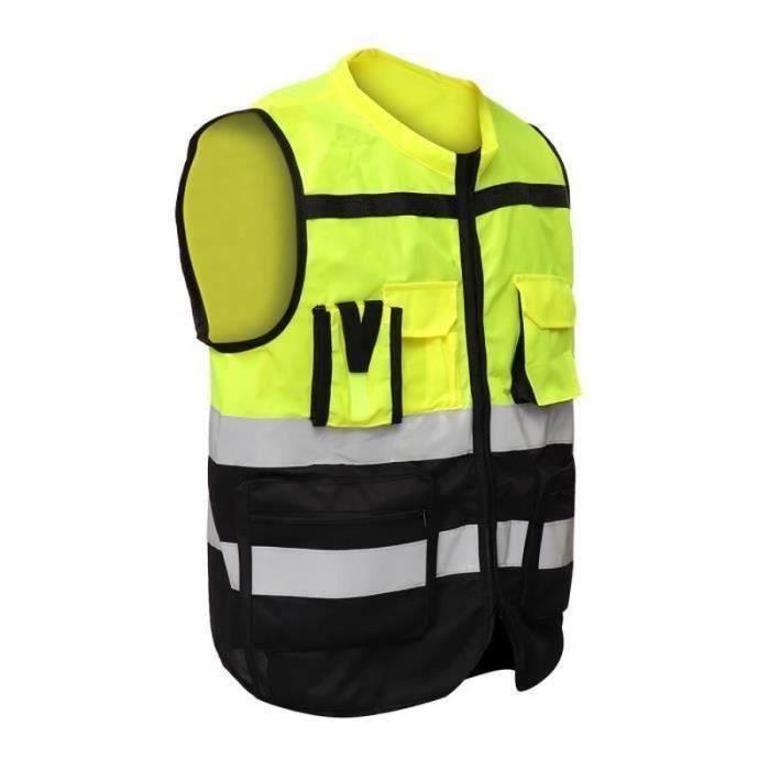 Runmenb*Gilet Réfléchissant PROTECTION Veste Poche Sécurité Jaune Noir XL
