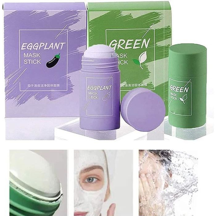 2Pcs Cleansing Facial Mask Stick for All Skin Types, Eggplant/Green Tea Purifying Clay Stick Mask, Effectively Reduce Blackheads