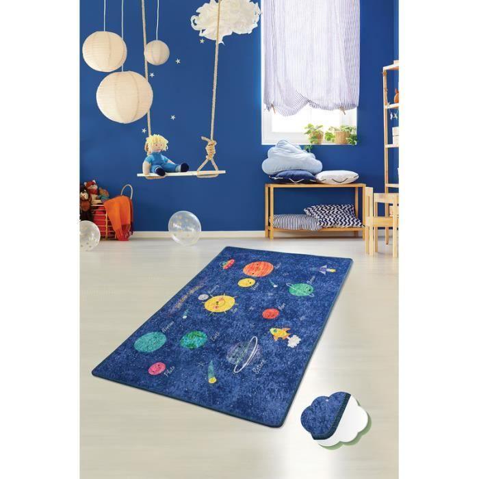 Nerge.be - Space - 100x160 cm - Espace pour enfants Tapis de jeu éducatif Feuille de route Jouet Chambre Salle de jeux salon