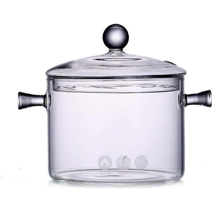 COCOTTE ET Marmite en Verre  Casserole Transparente avec Couvercle  Casserole reacutesistante agrave la Chaleur Casserole avec C890