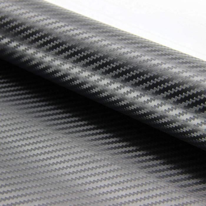 ZOEON 2Pcs 3D Fibre de Carbone Autocollant Adhésif pour Voiture, 1520 x 300 mm DIY Covering Noir Mat
